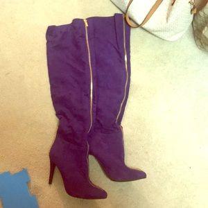 Purple Thigh high zipper boots